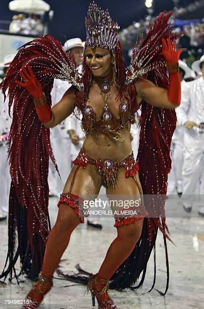 Brazilian actriz and Queen of the Drummers of Academicos do Salgueiro samba school Viviane Araujo parades at the Sambodrome during carnival...