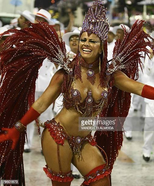 Brazilian actriz and Queen of the Drummers of Academicos do Salgueiro samba school Viviane Araujo parades at the Sambodrome during carnival...