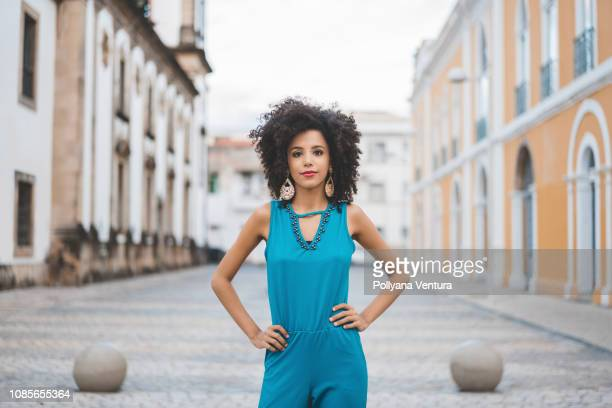 brazilian afro model in the city - brazilian girls stock photos and pictures