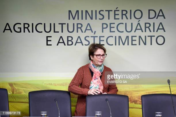 Brazilian Agriculture Minister Tereza Cristina arrives for a press conference on the new pesticide authorization policy in Brasilia on August 6 2019