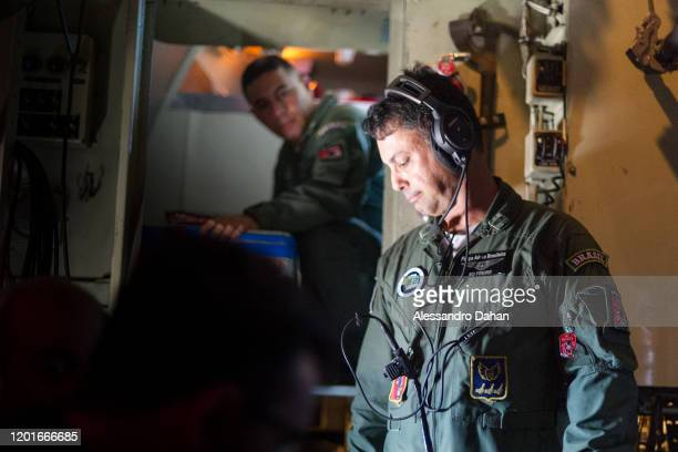 Brazilian Air Force Officer during flight on November 03 2019 in King George Island Antarctica