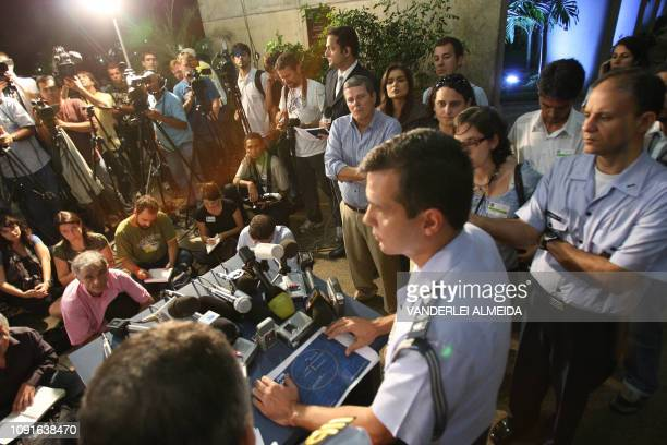 Brazilian Air Force Officer Henry Nunhoz speaks during a press conference to announce the recovery of more bodies of the 228 victims of the Air...