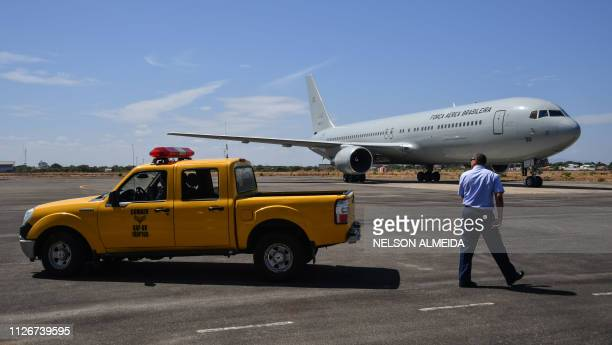 Brazilian Air Force plane carrying humanitarian aid for Venezuela is pictured shortly after landing at Ala 7 air base in Boa Vista, Roraima state,...