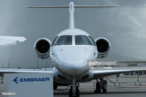 Brazilian aircraft manufacturer Embraer's midsized Executive Jet Legacy 500 is exhibited during the first edition of the International Brazil Air...