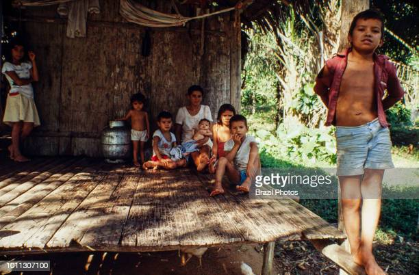 Brazilian Amazon riverine family ribeirinho those who live near the rivers and have artisanal fishing as the main survival activity and also...