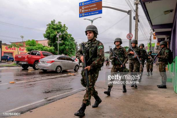 Brazilian Armed Forces soldiers are deployed in the streets of Fortaleza, Ceara state, Brazil, on February 22, 2020. - 51 homicides were registered...