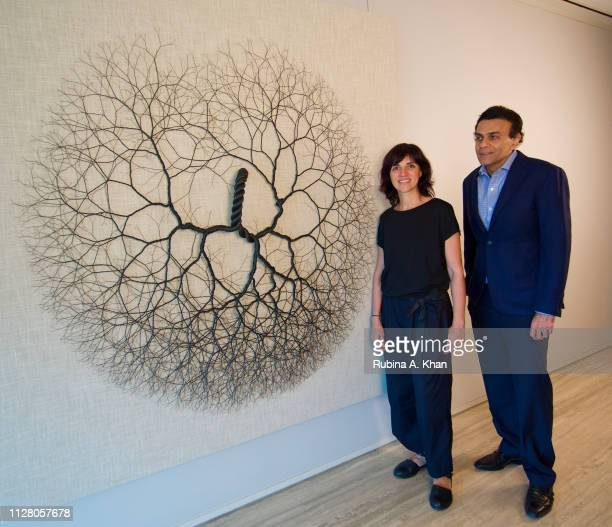 Brazilian artist Janaina Mello Landini and Sanjay Arora Managing Director D'Decor with 'Ciclotrama' made from bespoke linen crafted by D'Decor a $300...