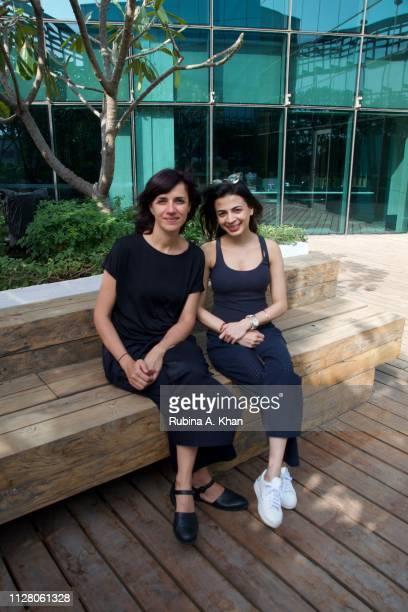 Brazilian artist Janaina Mello Landini with Ambika Hinduja Macker Owner Impeccable Imagination that represents the artist at the D'Decor headquarters...