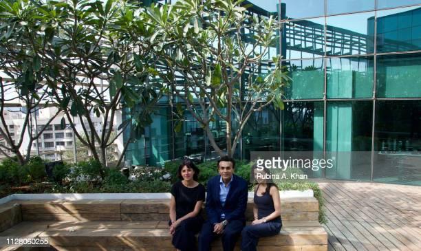 Brazilian artist Janaina Mello Landini with Sanjay Arora Managing Director D'Decor and Ambika Hinduja Macker Owner Impeccable Imagination that...