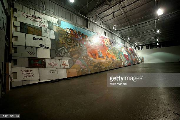 "Brazilian artists Osgemeos' interpretation of ""The Wall"" is displayed during Roger Waters hosts Los Angeles Event in celebration of the release of..."