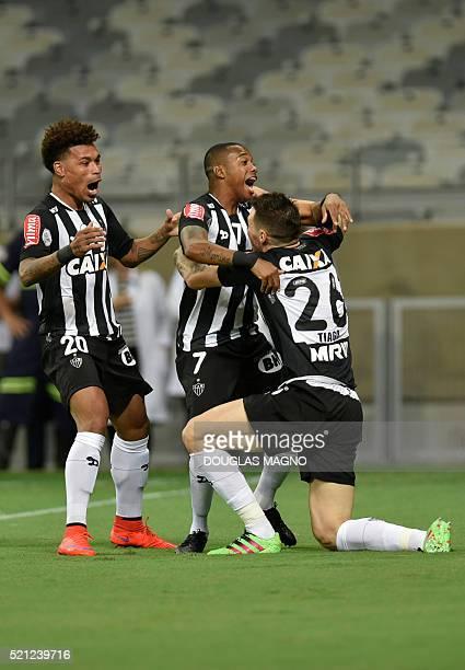 Brazilian Atletico Mineiro's Robinho celebrates after scoring against Peruvian Melgar during their 2016 Libertadores Cup match at Mineirao Stadium in...