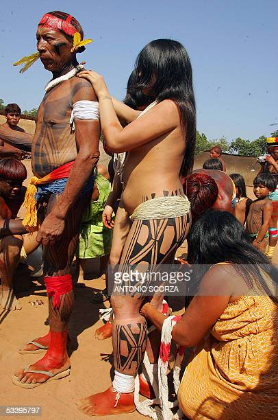 Brazilian Awara virgin Indian girl is prepared by the Xaman and her mother for taking part in the Kuarup ceremony in an area of the Amazon forest...
