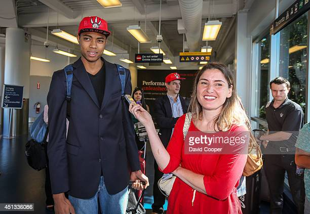 TORONTO ON JUNE 27 Brazilian Basketball player Bruno Caboclo drafted 20th over all by the Raptors arrives on Porter Airlines from Newark NJ at Billy...