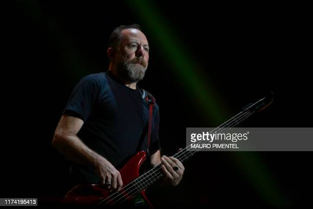Brazilian bassist Bi Ribeiro, of rock band Paralamas do Sucesso, performs during the last day of the Rock in Rio music festival at the Olympic Park...
