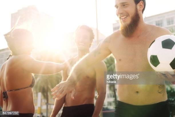 Brasilianische Beach Soccer Spieler in Rio De Janeiro, Brasilien