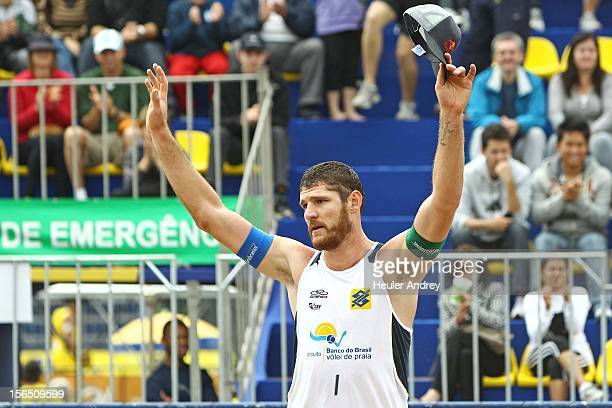 Brazilian beach volley player Allison in action during a match with his teammate Emanuel Rego for the 5th stage of the season 2012/2013 of Banco do...