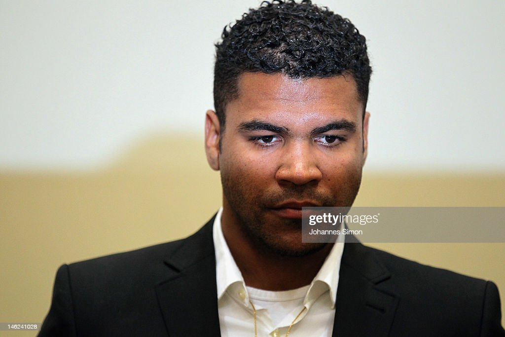 Brazilian Breno Vinícius Rodrigues Borges, so called Breno, former player of German football club FC Bayern Muenchen looks on ahead of his trial at Munich district court on June 13, 2012 in Munich, Germany. German prosecutors have charged the Bayern Munich defender Breno with aggravated arson after his rented villa was burnt down on September 20, 2011.