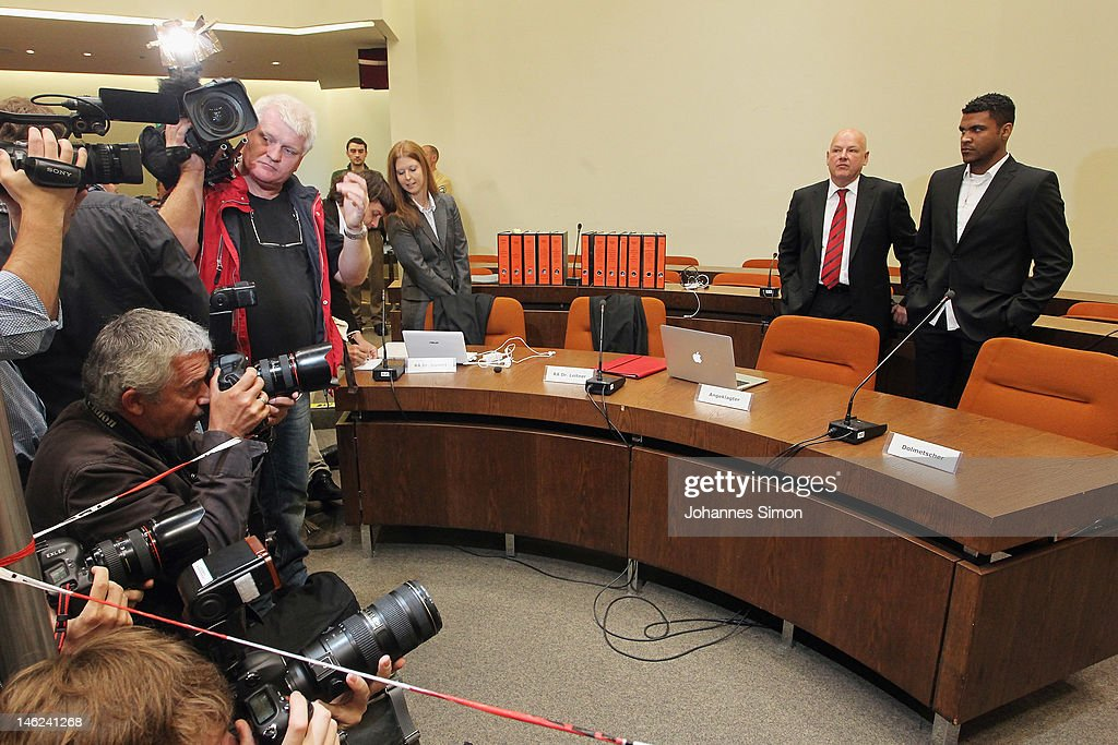 Brazilian Breno Vinícius Rodrigues Borges (R; beside of his lawyer Werner Leitner), so called Breno, former player of German football club FC Bayern Muenchen looks on ahead of his trial at Munich district court on June 13, 2012 in Munich, Germany. German prosecutors have charged the Bayern Munich defender Breno with aggravated arson after his rented villa was burnt down on September 20, 2011.