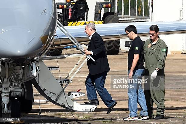 Brazilian businessman Jose Carlos Bumlai arrested by the Federal Police in a new phase of Lava Jato operation boards a plane at the airport in...