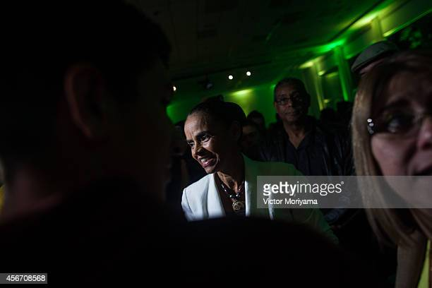 Brazilian candidate for President Marina Silva attends a press conference at the Brazilian Socialist Party on October 5, 2014 in Sao Paulo, Brazil....