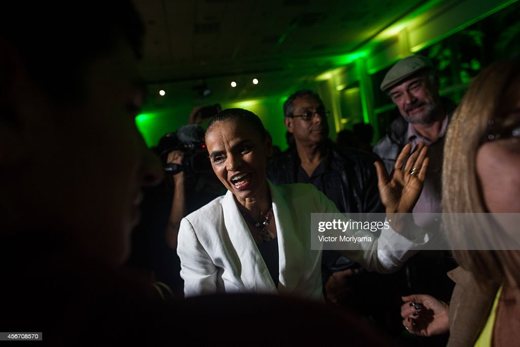 Brazilian candidate for President Marina Silva attends a press conference at the Brazilian Socialist Party on October 5, 2014 in Sao Paulo, Brazil. Marina Silva had 21% of the votes and will not move to the second round against the current President of the Republic, Dilma Rousseff and Aecio Neves.