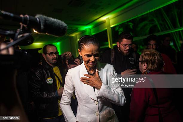 Brazilian candidate for President Marina Silva attends a press conference at the Brazilian Socialist Party on October 5 2014 in Sao Paulo Brazil...