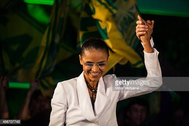 Brazilian candidate for President Marina Silva speaks during a press conference at the Brazilian Socialist Party on October 5, 2014 in Sao Paulo,...