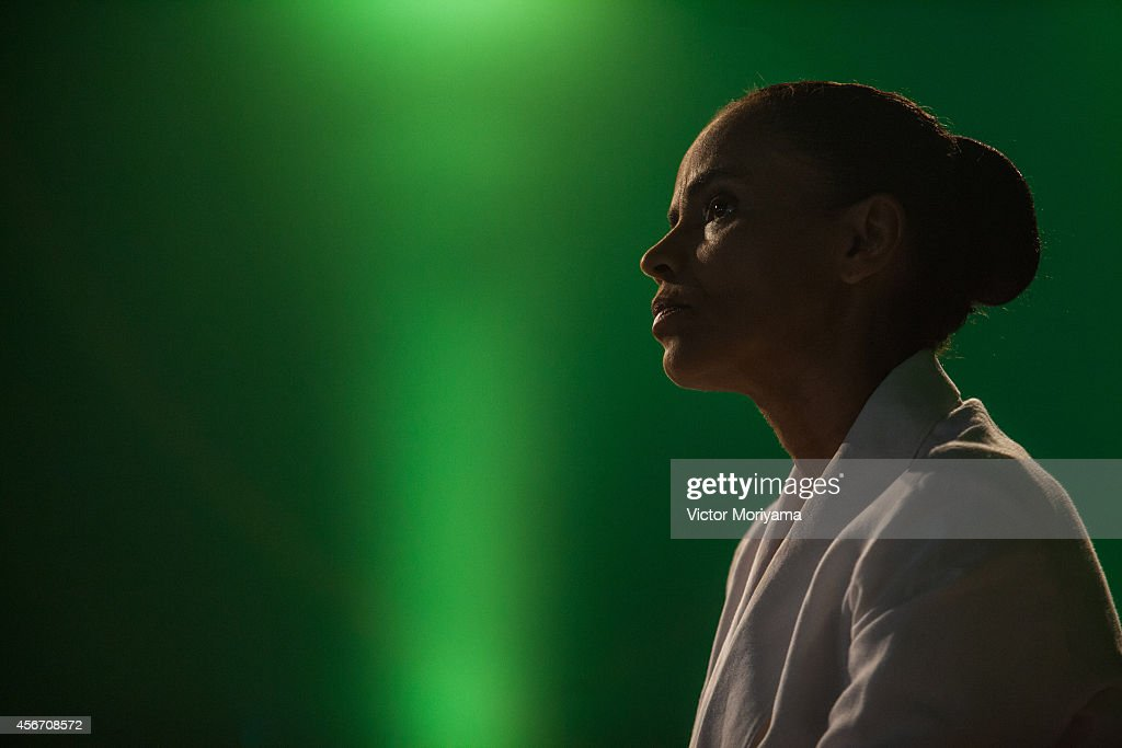 Brazilian candidate for President Marina Silva speaks during a press conference at the Brazilian Socialist Party on October 5, 2014 in Sao Paulo, Brazil. Marina Silva had 21% of the votes and will not move to the second round against the current President of the Republic, Dilma Rousseff and Aecio Neves.