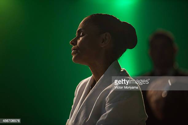Brazilian candidate for President Marina Silva speaks during a press conference at the Brazilian Socialist Party on October 5 2014 in Sao Paulo...