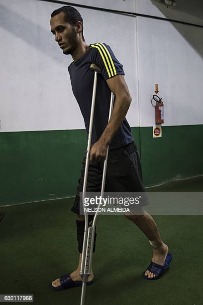 Brazilian Chapecoense footballer Helio Neto one of the survivors of the LaMia airplane crash in Colombia arrives for a physiotherapy session at the...