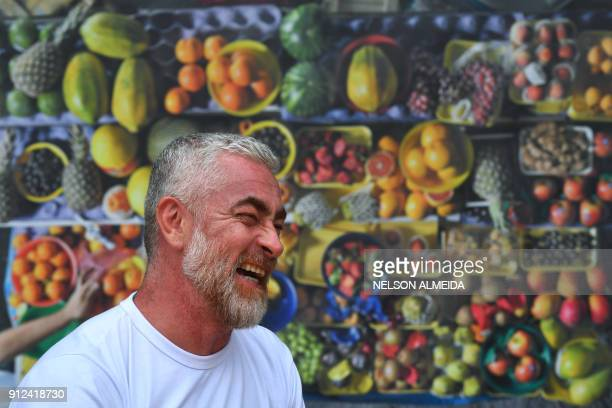 Brazilian chef Alex Atala laughs during an interview with AFP in Sao Paulo Brazil on January 26 2018 Latin America certainly has deep roots when it...
