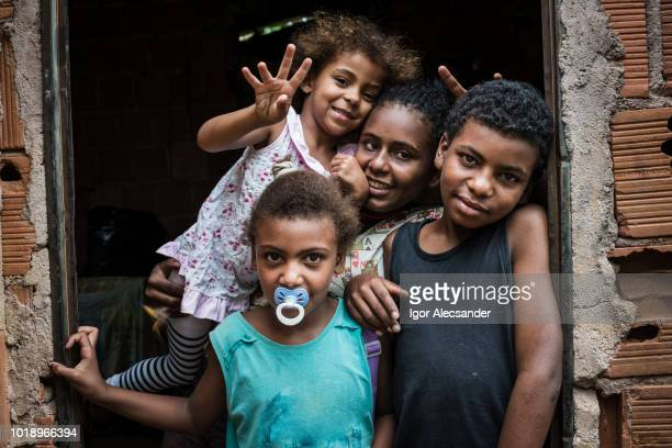 brazilian children at home, rio de janeiro state - favela stock pictures, royalty-free photos & images