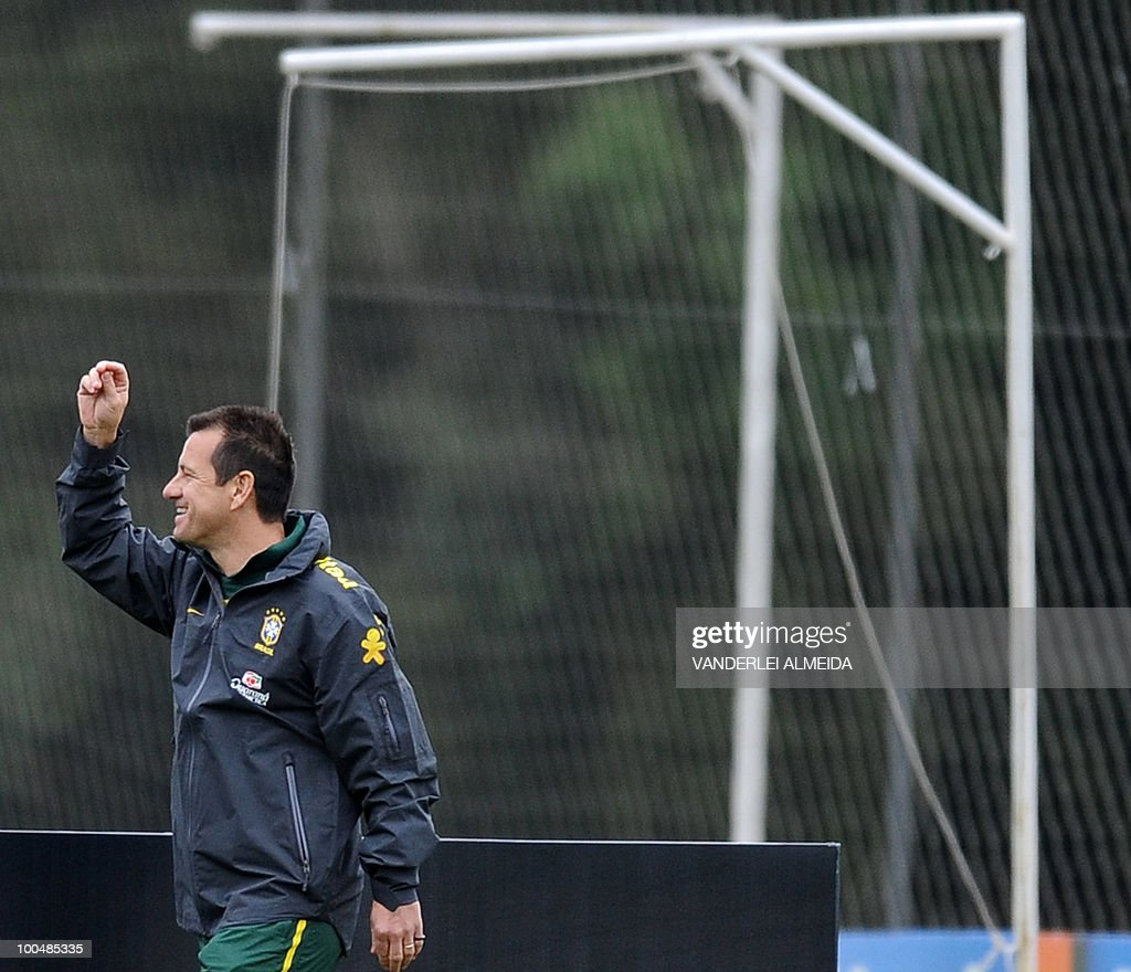 Brazilian coach Dunga gestures during a training session in Curitiba, southern Brazil on May 24, 2010. Brazil, five-time world champion, is among the favourites for the South Africa 2010 World Cup which starts on June 11th. The 'Selecao' have been drawn in Group G with North Korea, Ivory Coast and Portugal.