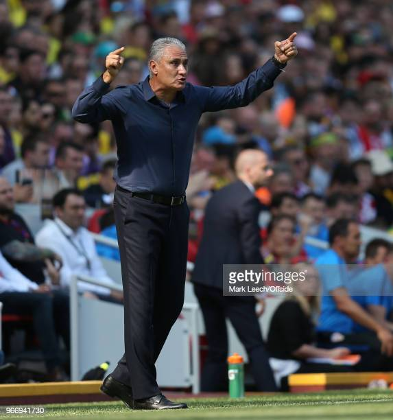 Brazilian coach Tite during the friendly international football match between Brazil and Croatia at Anfield on June 3 2018 in Liverpool England