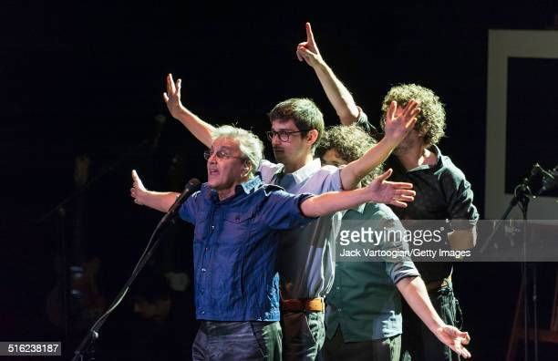 Brazilian composer musician Caetano Veloso and his band perform onstage at a concert during the 2014 Next Wave Festival at the BAM Howard Gilman...