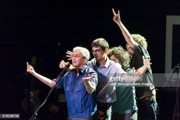 Brazilian composer & musician Caetano Veloso and his band perform onstage at a concert during the 2014 Next Wave Festival at the BAM Howard Gilman...