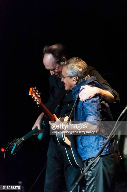 Brazilian composer & musician Caetano Veloso and his special guest, American composer & musician Arto Lindsay, onstage at a concert during the 2014...