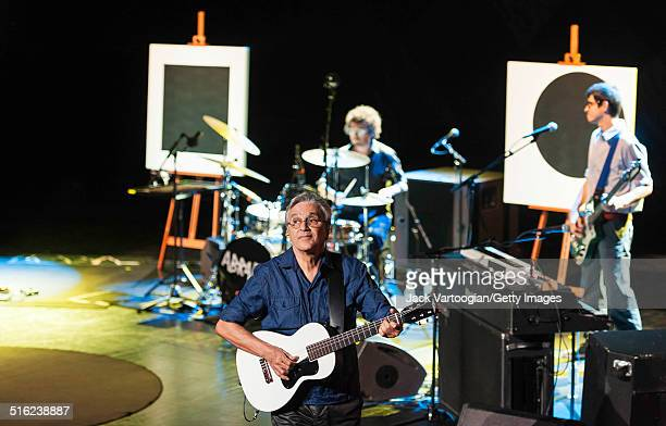 Brazilian composer & musician Caetano Veloso performs onstage with his band at a concert during the 2014 Next Wave Festival at the BAM Howard Gilman...