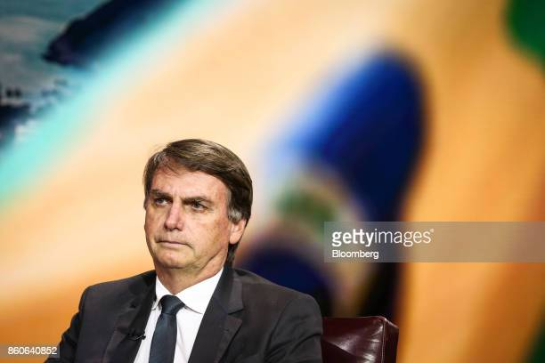 Brazilian Congressman Jair Bolsonaro listens during a Bloomberg Television interview in New York US on Thursday Oct 12 2017 After years of recession...