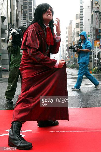 Brazilian cosplayer Geraldo Jose Cecilio Junior from Sao Paulo poses as Alucard the vampire protagonist of the anime series Hellsing at a parade for...