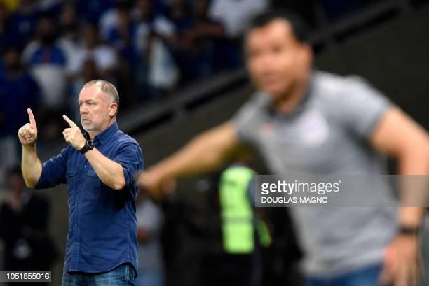 Brazilian Cruzeiro team coach Mano Menezes gestures during the 2018 Brazil Cup first leg final football match against Corinthians at the Mineirao...