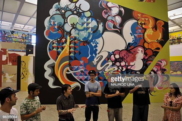 RETA Brazilian curator Baixo Ribeiro speaks to the media amid urban artists guests ahead of the official opening of the urban art exhibition From...
