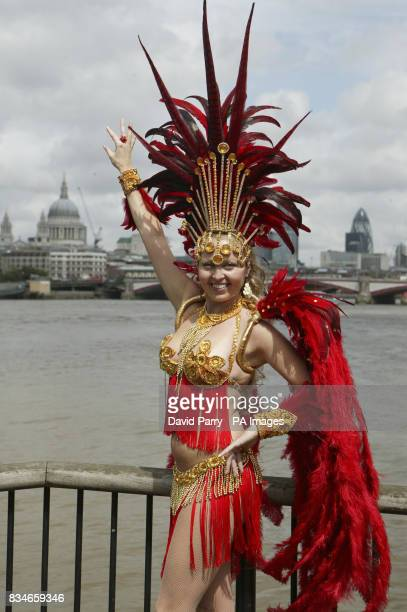 Brazilian dancers from the Latin Fusion Dance Company help celebrate the 50th Anniversary of Bossa Nova on the South Bank of the River Thames in...