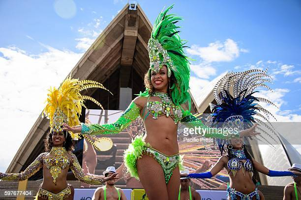 Brazilian dancers perform during the Australian Olympic Team Welcome Home Celebration on the forecourt of Sydney Opera House Athletes and medallists...
