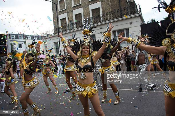 Brazilian dancers take part in the parade on Monday 28th August 2016 at Notting Hill Carnival in West London A celebration of West Indian / Caribbean...
