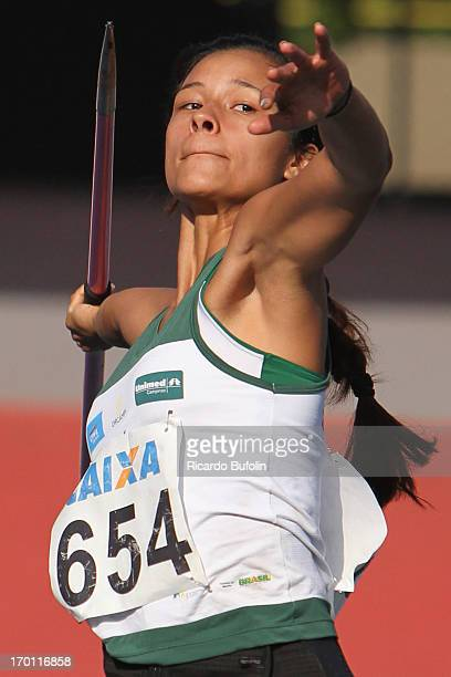 Brazilian Daniela Nissimura of Orcampi Unimed team competes in the Javelin Throw event during the XXXI Caixa Brazil Athletics Trophy at Icaro de...