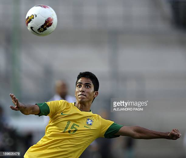 Brazilian defender Igor Juliao eyes the ball during their South American U-20 Championship Group B football match against Venezuela, at Bicentenario...