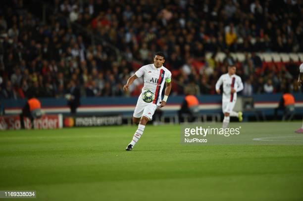 Brazilian defender Thiago Silva, born in 1984, Paris Saint German defender, plays during the Paris Saint German - Real Madrid match, valid for the...