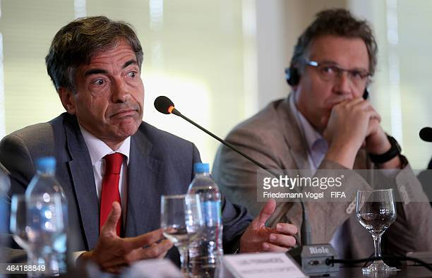 Brazilian Deputy Sports Minister Luis Fernandes and FIFA Secretary General Jerome Valcke attends a press conference during the 2014 FIFA World Cup...