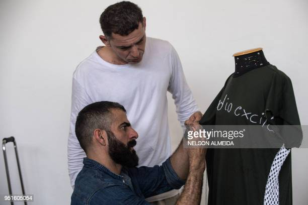 Brazilian designer and craftsman Gustavo Silvestre is pictured as he teaches crochet to inmates as part of 'Ponto Firme' project in the Adriano...
